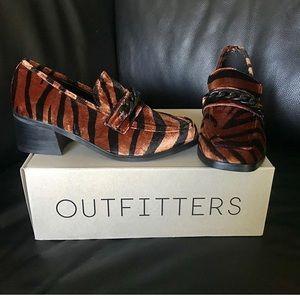 Sophia heeled loafer, bronze, tiger stripes